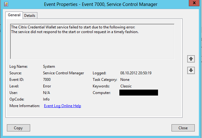Citrix StoreFront Credential Wallet service fails to start