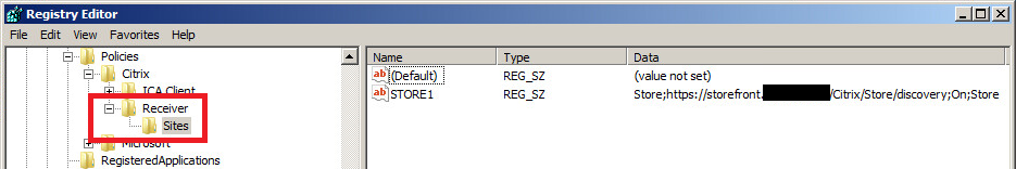 Citrix Receiver 4 x Store configuration through Group Policy