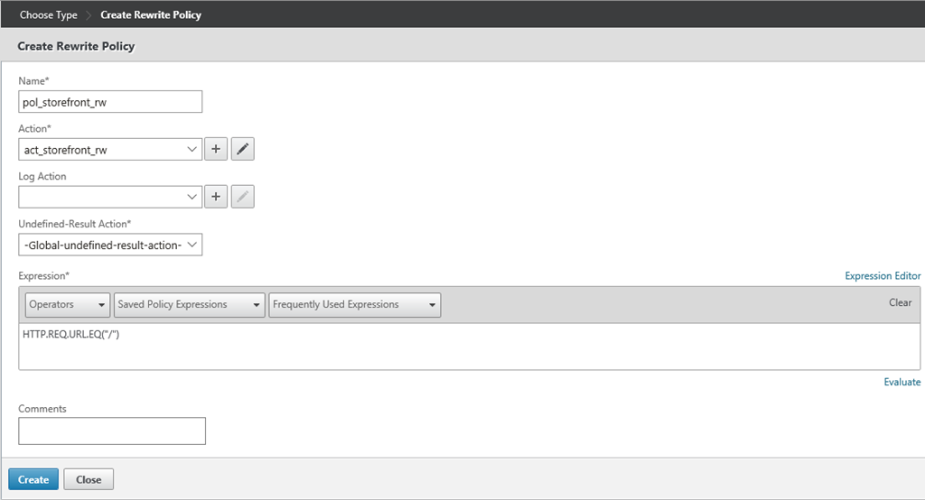 Creating a Citrix NetScaler Redirect Policy for StoreFront