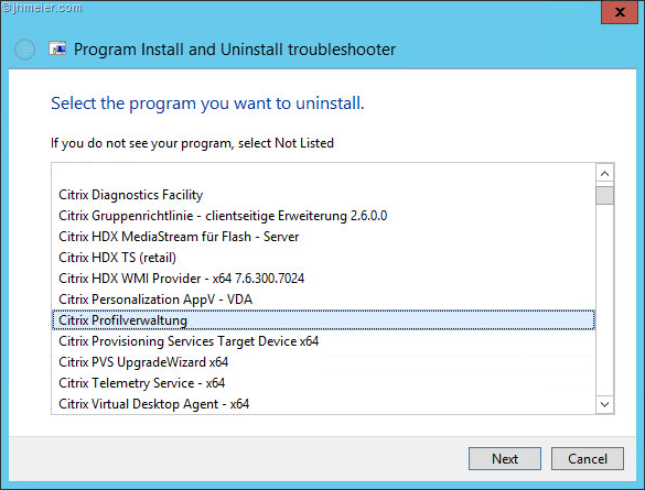 Removal of Citrix XenDesktop / XenApp 7 x VDA fails with